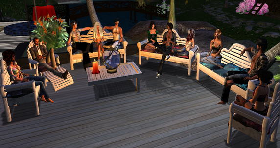 Hangout in second life, avatar, virtual people